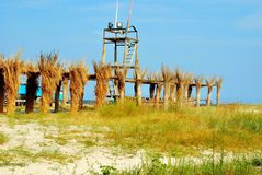 Trappa för blått för gräsplan för strandsommartidferie arkivbilder