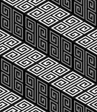 trappa för 3D Zig Zag, Op Art Vector Seamless Pattern stock illustrationer