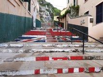 Trappa för Gibraltar ` som s skapar en bild av Union Jack arkivfoton