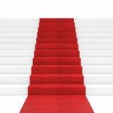 Trappa för röd matta Arkivbild
