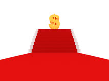 trappa för tecken för mattdollar guld- röd till Royaltyfria Bilder