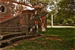 Trappa för Vizcaya museum- och trädgårdborggårdsten Arkivbild
