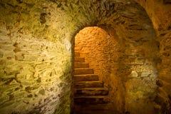 Trappa i medeltida källare arkivbild