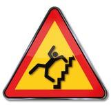 Trappa och krasch för varning brant royaltyfri illustrationer