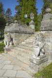 Trappa på den Peles slotten Arkivbild