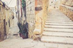Trappa på gatan av la Valletta Fotografering för Bildbyråer