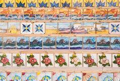 Trappa som dekoreras med keramiska tegelplattor sicily Fotografering för Bildbyråer