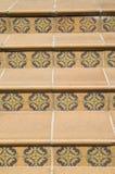 Trappa som täckas med keramiska tegelplattor med blom- beståndsdelar, Bulgarien royaltyfri foto