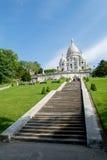 Trappa till basilikan av Sacre Coeur i Paris, Frankrike Fotografering för Bildbyråer