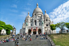 Trappa till basilikan av Sacre Coeur i Paris, Frankrike Royaltyfri Bild