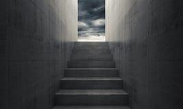 Trappa till himmel, tom mörk inre stock illustrationer