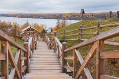 Trappa till Volga River Arkivbild