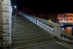 trappa venice för rialto för broitaly natt Arkivbilder