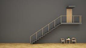 Trappa, wood stol och kaffetabell med den gråa renderinen vägg/3d Arkivbilder