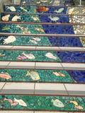Trappan för belägga med tegel-mosaik Moraga gata, San Francisco, 11 Royaltyfri Foto
