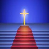 Trappan med röd matta leder till korset Royaltyfria Bilder