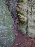 Trappan till och med en spricka between vaggar på den Mullerthal slingan i Berdorf, Luxembourg Arkivbild