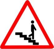 Trappastegen kliver varningssäkerhetsvägmärket Rött tecken för varningssymbol på vit bakgrund Arkivfoton