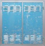 Trappe bleue en métal Photo stock