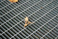 Trappe carrée en métal dans le trottoir urbain, la couverture de trou d'homme d'égout avec des lignes d'inscription et la feuille Photo libre de droits