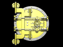 Trappe d'or de chambre forte fermée. Photo stock