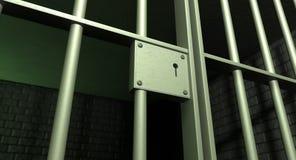 Trappe de cellules de prison verrouillée Photos stock