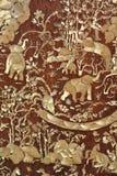 Trappe de temple découpée par éléphant Photographie stock