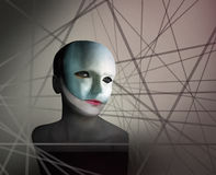 Trapped. Artistic image represent a face ofa a woman with a mask in geometry lines in the background Stock Photos