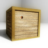 Trapped in a box. Person trapped in a wooden box peering out though a hole vector illustration