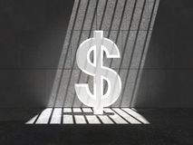 Trapped Bright Buck 05h. Bright dollar trapped in a cell, lit by natural sunlight through bars Royalty Free Stock Photos