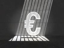 Trapped Bright Euro Symbol. Bright Euro symbol trapped in a cell, lit by natural sunlight Royalty Free Stock Photos