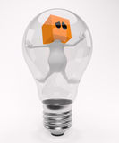 Trapped in the bulb. 3d little cute people with cube orange head, trapped in the bulb, isolated on white Royalty Free Stock Images