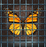 Trapped Creativity. And creative limitations business concept as a monarch butterfly behind prison bars as a symbol of education imagination adversity vector illustration