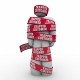Trapped Customer Person Wrapped Tape Bound Contract Terms Stock Photos