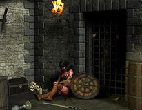 Trapped in the Dungeon. 3D rendering female warrior in a dungeon Stock Image