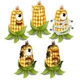 Trapped fancy monster in the form of an one-eyed decaying cob of corn isolated on a white background. Vector cartoon royalty free illustration