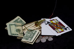 Trapped  On Gambling With Black Background Stock Image