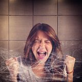 Trapped girl screaming Royalty Free Stock Images