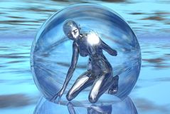 Trapped in glass. Graphic woman Royalty Free Stock Photos