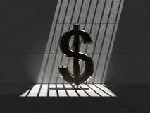 Trapped Gold Buck 05g. Golden dollar trapped in a cell, lit by natural sunlight through bars vector illustration