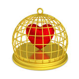 Trapped heart round golden birdcage Royalty Free Stock Images
