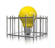 Trapped Idea. One Single Yellow Light Bulb in a Cage on White Background 3D Illustration Royalty Free Stock Image