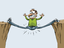 Trapped Man. A man trapped and doing the splits in a gap between two cliffs vector illustration