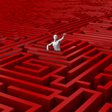 Trapped in the maze. 3D render of male figure trapped in vast maze Stock Photography