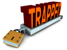 Trapped in metal trap. Getting trapped in a trap concept, word trapped in metal clamp with lock on it vector illustration