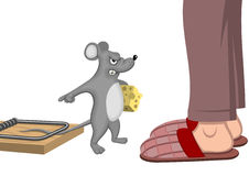 Trapped mouse. Trapped impudent mouse. Vector illustration royalty free illustration