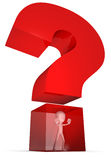 Trapped in a question mark Stock Images