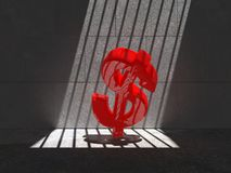 Trapped Red Buck 05i2. Red dollar trapped in a cell, lit by natural sunlight Royalty Free Stock Image