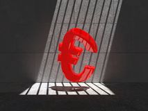 Trapped red Euro symbol. Red Euro symbol trapped in a cell, lit by natural sunlight Stock Photos