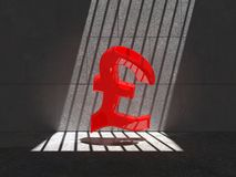 Trapped red Pound symbol. Red pound symbol trapped in a cell, lit by natural sunlight Royalty Free Stock Photos